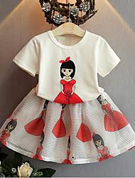 Недорогие -Для девочек Наборы На каждый день Хлопок Искусственный шёлк С принтом Лето С короткими рукавами Набор одежды