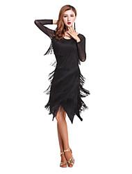 preiswerte -sollen wir vlatin tanzen outfits frauen leistung spandex quaste (s) langarm hoch dress shorts