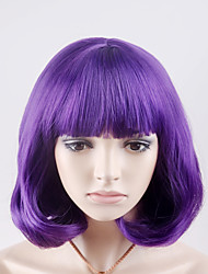 cheap -Synthetic Hair Wigs Straight Capless Natural Wigs Short Purple Synthetic Wig