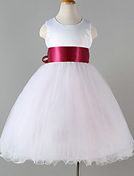 Princess Tea Length Flower Girl Dress - Polyester Tulle Sleeveless Jewel Neck with Sash / Ribbon by YDN