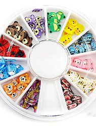 cheap -Mixed Color Soft Pottery Mini Cartoon Animal Nail Art Decoration