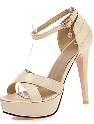 Women's Sandals Summer Club Shoes D'Orsay & Two-Piece Leatherette Wedding Party & Evening Dress Stiletto Heel Buckle Hollow-out