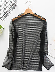 cheap -Women's Going out Sexy Simple Spring Summer Blouse,Solid Striped Round Neck Long Sleeve Black Polyester Sheer