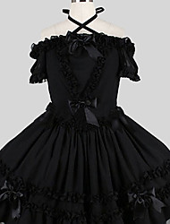cheap -Sweet Lolita Dress Elegant Women's One Piece Dress Cosplay Black Butterfly Short Sleeves