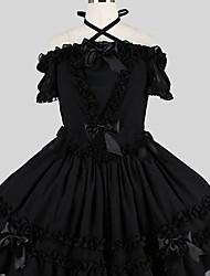 abordables -Doux Elégant Femme Robes Cosplay Noir Papillon Manches Courtes Mi-long