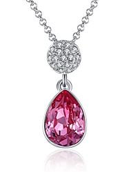 Femme Pendentif de collier Cristal Zircon cubique Forme de Cercle Forme de Croix Goutte Cristal Zircon Plaqué argent AlliageOriginal
