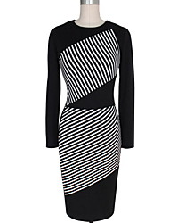 cheap -Women's Casual Plus Size Bodycon Knee-length Dress, Patchwork Round Neck Long Sleeves Spring