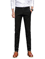 Men's Low Rise Micro-elastic Chinos Business Pants,Sexy Vintage Simple Straight Slim Solid