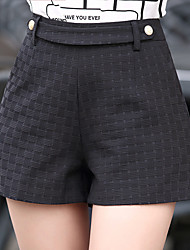 Women's Plus Size Straight Wide Leg Chinos Shorts Pants,Going out Casual/Daily Sexy Simple Cute Solid Plaid Beaded Lace High Rise Zipper