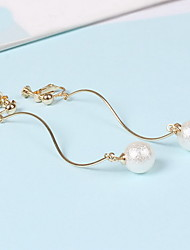 Clip Earrings Imitation Pearl Pearl Imitation Pearl Alloy Simple Style Gold Jewelry Daily Casual 1 pair