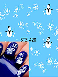 1pcs Sweet Christmas Nail Art Sticker Beautiful Snowflakes Lovely Deer Design Nail Water Transfer Decals Nail Makeup Design STZ-428