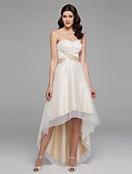 cheap -A-Line Sweetheart Asymmetrical Chiffon Satin Tulle Wedding Dress with Beading Sash / Ribbon Bow by LAN TING BRIDE®