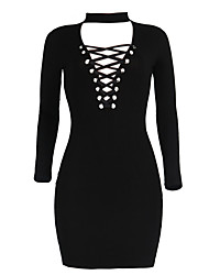 Women's Casual/Daily Formal Simple Loose Sheath Dress,Solid V Neck Above Knee Long Sleeve Black Gray Cotton Polyester All Seasons Low Rise
