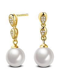 Moda ouro branco pérola cúbica zircão brincos jóias de casamento para mulheres