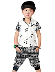 Boy's Going out Casual/Daily School Print Patchwork Sets Cotton Summer Short Sleeve Harem Pants 2 Piece Clothing Set Children's Garments