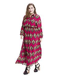 cheap -Women's Plus Size Vintage Chiffon Dress,Print Square Neck Maxi Long Sleeve Cotton Polyester Spring Summer High Rise Micro-elastic Medium
