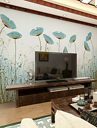Art Deco Wallpaper For Home Wall Covering Canvas Adhesive Required Mural Green out of Water Leaf Relief XXXL(448*280cm)