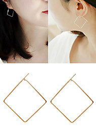 Geometry Square Non Stone Hoop Earrings Jewelry Wedding Party Daily Casual Alloy 1 pair Gold Silver