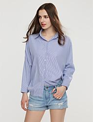 cheap -Women's Fine Stripe Solid Blue/Gray Shirt,Shirt Collar Long Sleeve