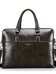 Men Bags All Seasons PU Briefcase for Formal Office & Career Black Dark Green Brown