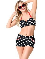 Women's Retro Black White Polka Dot High Waist Halter Bikini Swimsuit