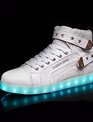 Damen-Sneaker-Outddor-Leder-Flacher Absatz-Light Up Schuhe-Weiß Schwarz Rot