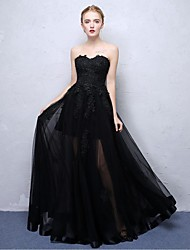 Ball Gown Strapless Floor Length Lace Organza Satin Chiffon Formal Evening Dress with Lace by Embroidered Bridal