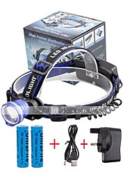 cheap -U'King Headlamps Headlight LED 2000 lm 3 Mode LED with Batteries and Charger Zoomable Alarm Adjustable Focus Compact Size Easy Carrying