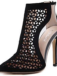 cheap -Women's Heels Club Shoes Fleece Spring Dress Club Shoes Hollow-out Stiletto Heel Black 4in-4 3/4in