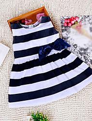 cheap -Girl's Striped Dress, Cotton Winter Spring Summer Fall Sleeveless Navy Blue Red Dark Pink