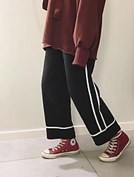 tiro real! Hong Kong sabor Harajuku coreano chiques branco cinta lado positivo de veludo soltas calças de pernas largas foram fina