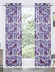 Grommet Top One Panel Curtain Modern , Print Flower Living Room Polyester Material Sheer Curtains Shades Home Decoration