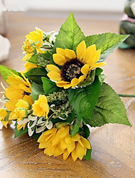 cheap -7Heads/Branch Silk Aquatic Plant Sunflowers  Tie-In Bouquet Artificial Flowers