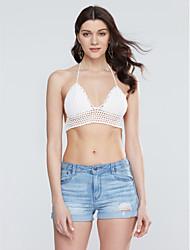 cheap -Women's Choker/Backless Spaghetti Strap Crochet Crop Top