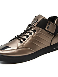 Men's Sneakers Spring Fall Comfort Couple Shoes PU Outdoor Casual Athletic Flat Heel Beading Sequin Black White Gold