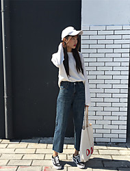 Sign 2016 autumn and winter chic torn edges washes small waist loose casual jeans to do the old
