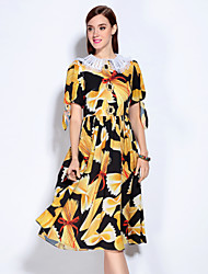 MARY YAN&YU Women's Going out Cute Swing Dress,Floral Shirt Collar Knee-length Short Sleeves Polyester Spandex Spring Summer Mid Rise Micro-elastic