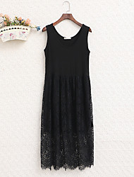 cheap -Women's Loose Dress - Solid Colored Lace