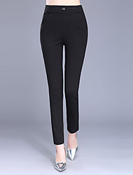Plus Size Slim Chinos Pants,Casual/Daily Work Sexy Simple Solid Sequins High Rise Elasticity Polyester Micro-elastic Summer