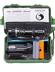 U'King LED Flashlights / Torch LED 2000 lm 5 Mode Cree XM-L T6 with Battery and Charger Zoomable Adjustable Focus Camping/Hiking/Caving