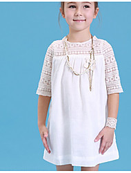 cheap -Girl's Solid Dress, Cotton Summer Half Sleeves White