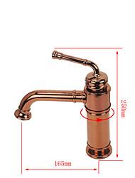 baratos -Modern Conjunto Central Rotativo Válvula Cerâmica Monocomando e Uma Abertura Rosa Dourado, Torneira pia do banheiro