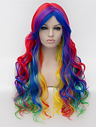 cheap -cosplay wigs multicolor gradient color wig wigs in europe and america fashion partial points 26 inch long curly hair Halloween