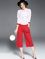OYCP Women's Casual/Daily Work Simple Spring Summer Shirt,Solid Round Neck Long Sleeve Silk