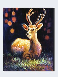 Ready to Hang Handpainted Beautiful Deer  Oil Painting On Canvas Wall Art For Decor