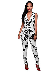 cheap -Daily Street chic Print Deep V Jumpsuits,Slim Sleeveless Summer Polyester