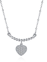 Women's Pendant Necklaces AAA Cubic Zirconia Heart Geometric Irregular Sterling Silver ZirconBasic Unique Design Dangling Style Tassel