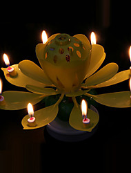 Double Deck Revolving Lotus Flower Music Candles Holiday Home Decoration