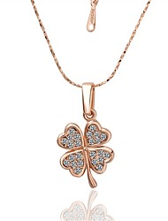 Pendant Necklaces AAA Cubic Zirconia Flower Four Leaf Clover Rose Gold Zircon Gold Plated Rose Gold Plated AlloyBasic Unique Design