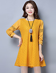 Sign spring new large size women's 200 pounds of fat MM lace solid color base skirt long-sleeved dress tide